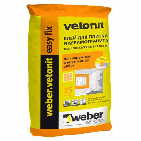 WEBER.VETONIT EASY FIX (25кг.) КЛЕЙ ДЛЯ ПЛИТКИ И КЕРАМОГРАНИТА0